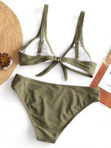 7072e6a917be6 22% OFF] 2019 Padded Knot Bikini Set In OLIVE GREEN | ZAFUL