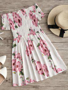 فستان توهج طباعة الأزهار سموكيد بلا اكتاف - أبيض L