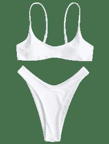 186985f1d2 58% OFF  2019 Padded Bikini Top And High Cut Bottoms In WHITE S