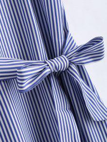 Hombros De Xl Azul Y Vestido Rayas Largo Descubiertos A Falbala Con Blanco TxffwqpI