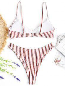 0a1331154923 Conjunto de bikini de tanga a rayas de corte alto