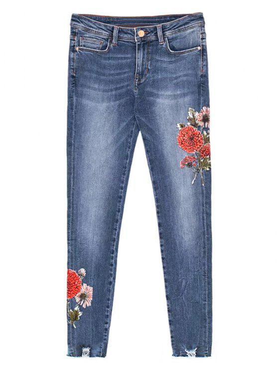 chic Floral Frayed Distressed Hem Jeans - DENIM BLUE L