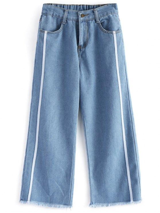 unique Frayed Hem Zipper Fly Jeans - DENIM BLUE M