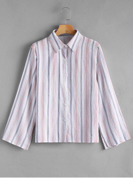 women Slit Sleeve Button Up Striped Shirt - STRIPE XL