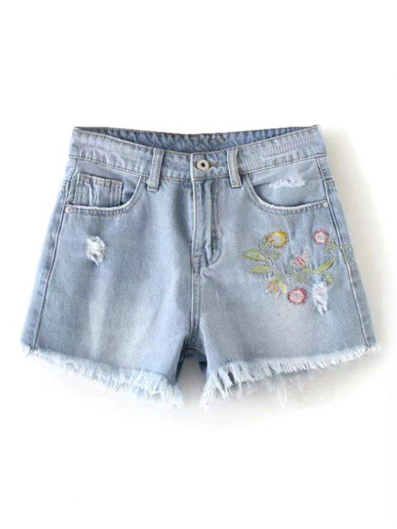 unique Floral Embroidered Frayed Hem Denim Shorts - DENIM BLUE L