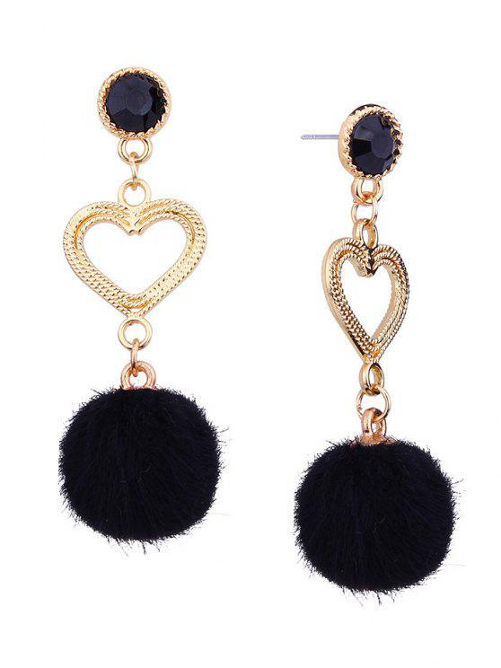 43970da47199 Pendientes colgantes de bolas peludas con forma de corazón de metal - Negro