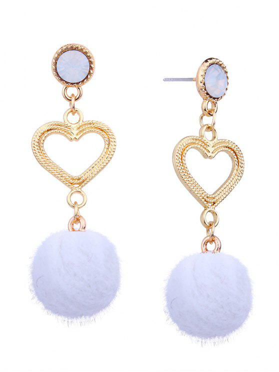 outfits Metal Heart Linked Furry Ball Drop Earrings - WHITE