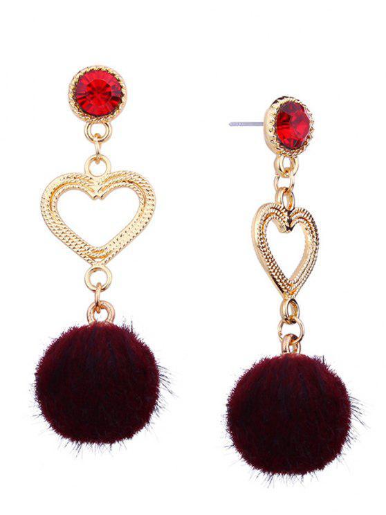 shops Metal Heart Linked Furry Ball Drop Earrings - RED