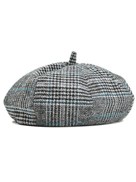 2019 Simple Checkered Pattern Beret Hat In BLACK + BLUE  ff2d03af432