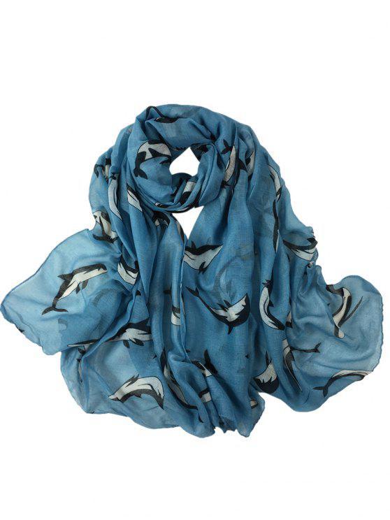 Cute Dolphin Pattern Embellished Sheer Scarf - Blu