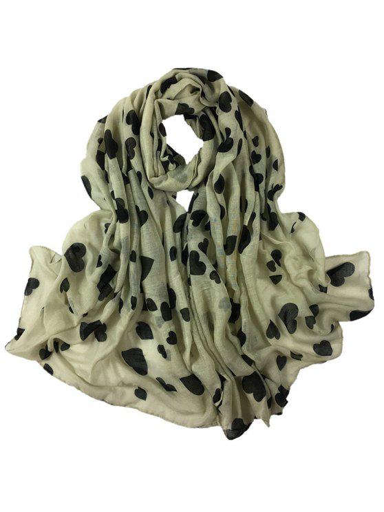 shops Heart Pattern Embellished Silky Long Scarf - BEIGE