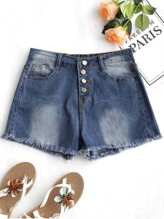 sale High Waist Frayed Hem Denim Shorts - DENIM BLUE M