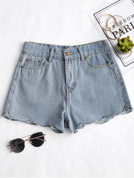 Pantalones cortos de mezclilla con hebilla festoneada - Azul Denim XL