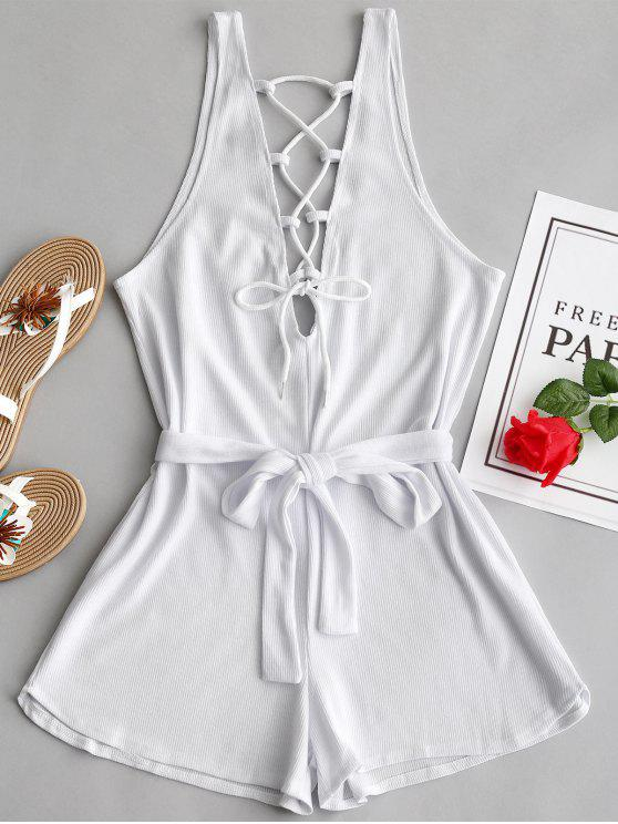 a196b2782723 28% OFF  2019 Open Back Lace Up Belted Romper In WHITE