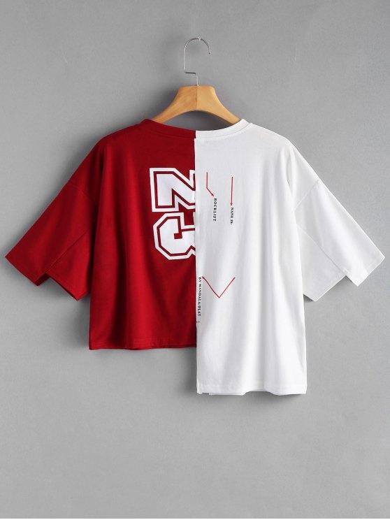 LettreRouge Imprimé Et Blanc Contrastant shirt Graphique Asymétrique T uPkXZTliwO