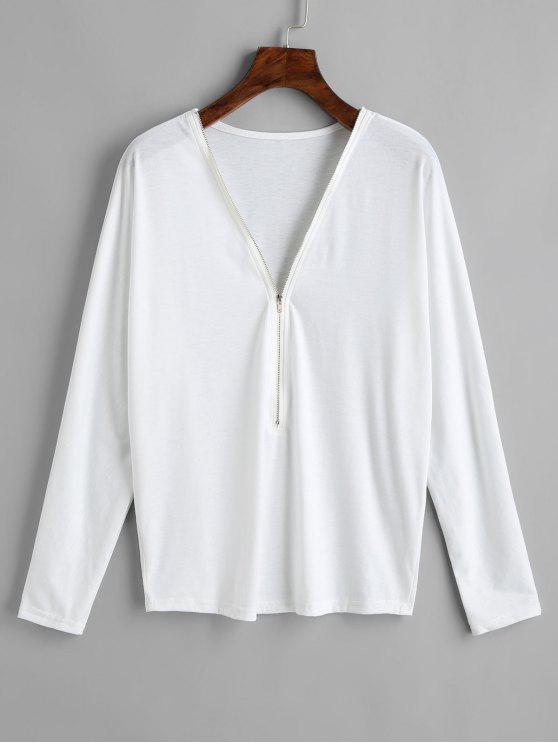 T-shirt à Manches Longues à Demi-Zip - Blanc M