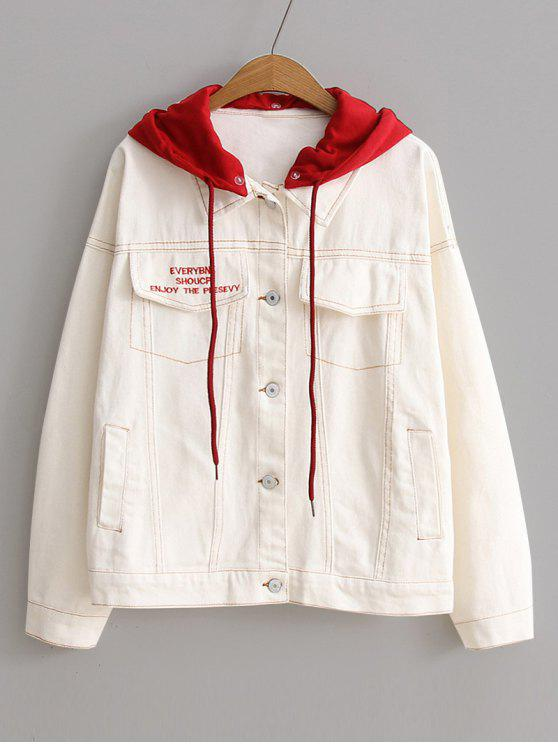 outfits Color Block Hooded Denim Jacket - OFF-WHITE ONE SIZE