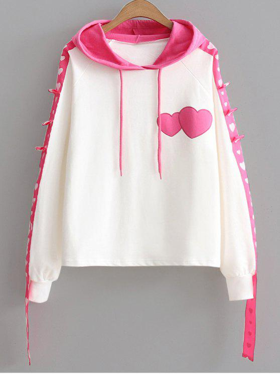 hot Color Block Ribbon Heart Hoodie - PINK ONE SIZE