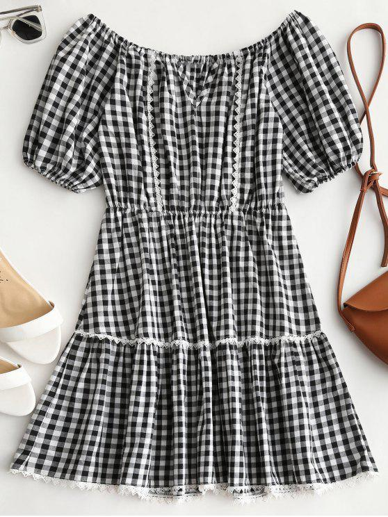 affordable Cut Out Off Shoulder Checked Dress - CHECKED S