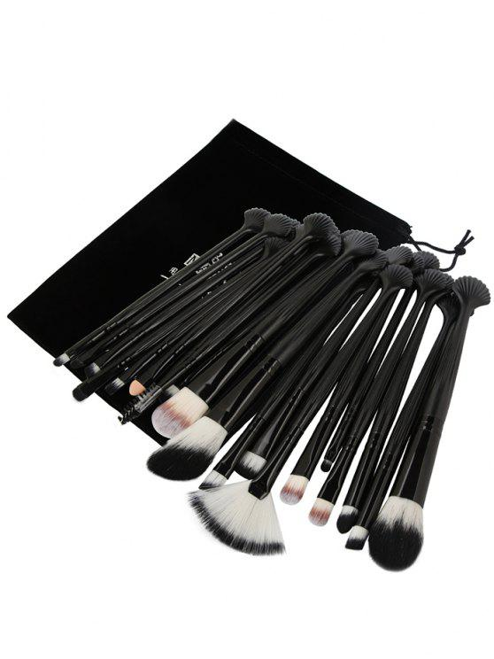 affordable 20Pcs Ultra Soft Fiber Hair Eye Makeup Brush Set - BLACK