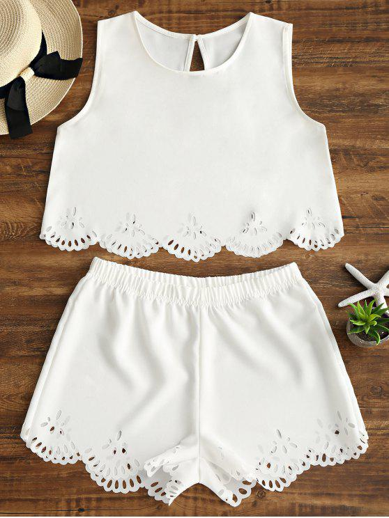 new Sleeveless Laser Cut Top and Shorts Set - WHITE M