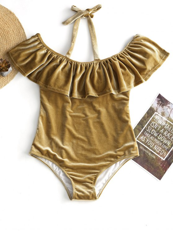 lady Ruffle Velvet Plus Size Swimsuit - CHAMPAGNE GOLD 2XL