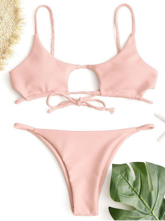 b448b62d818b1 28% OFF   HOT  2019 ZAFUL Ribbed Braided Cut Out Bikini Set In PINK ...