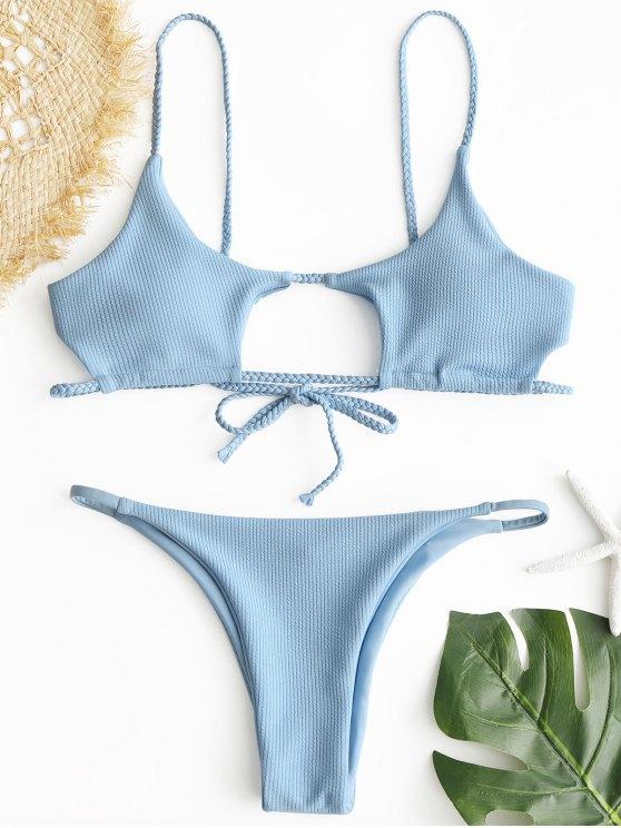 womens ZAFUL Ribbed Braided Cut Out Bikini Set - LIGHT BLUE M