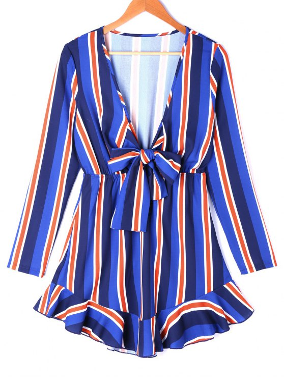 latest Low Cut Mini Striped Dress - COLORMIX M