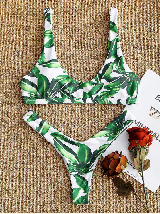 fashion Leaf High Cut Bikini Set - WHITE AND GREEN M