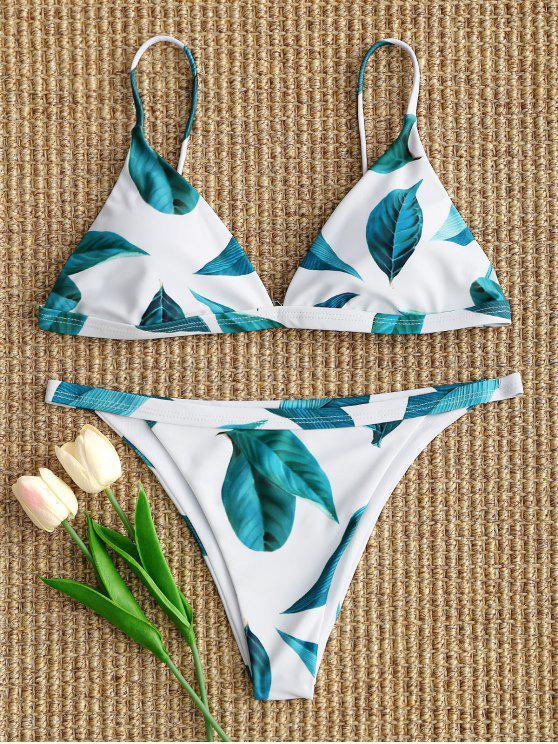 womens Padded Leaf Bikini Set - WHITE S