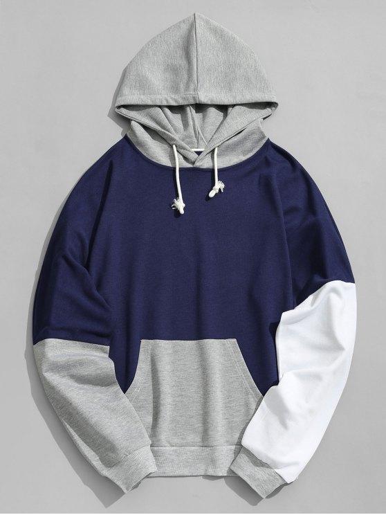 new Pouch Pocket Color Block Hoodie Men Clothes - DEEP BLUE XL