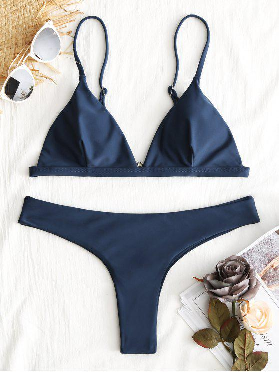 buy Plunge Thong Bikini Set - CADETBLUE M