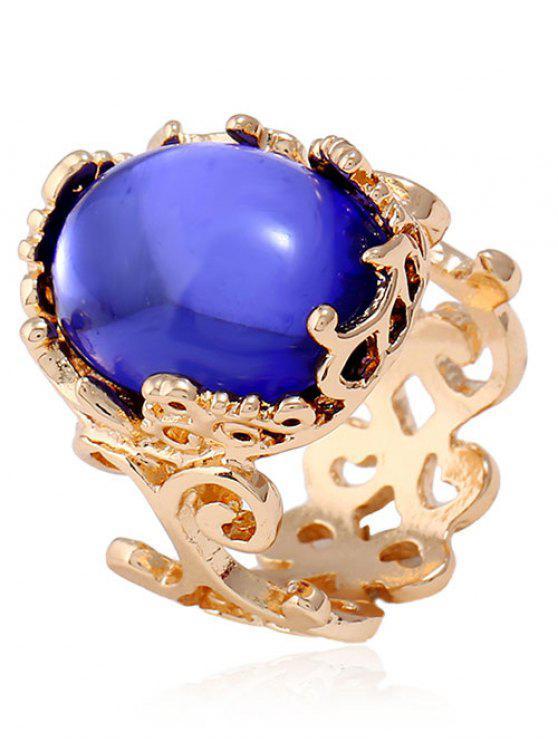 Faux Gem Oval Antique Grabado anillo - Azul Zafiro Uno de tamaño