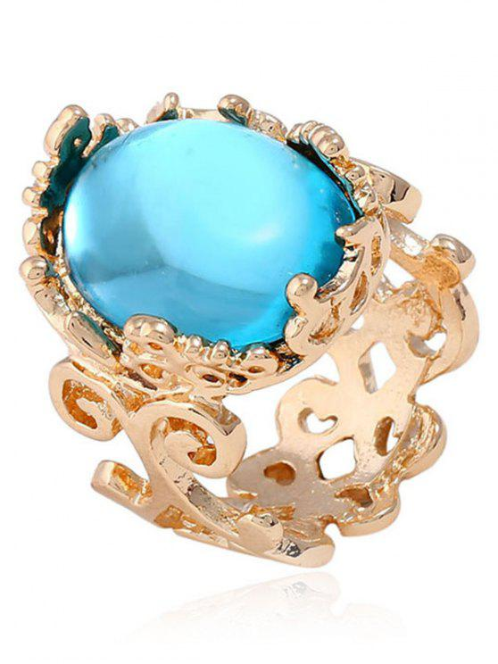 latest Faux Gem Oval Antique Engraved Ring - LAKE BLUE ONE-SIZE
