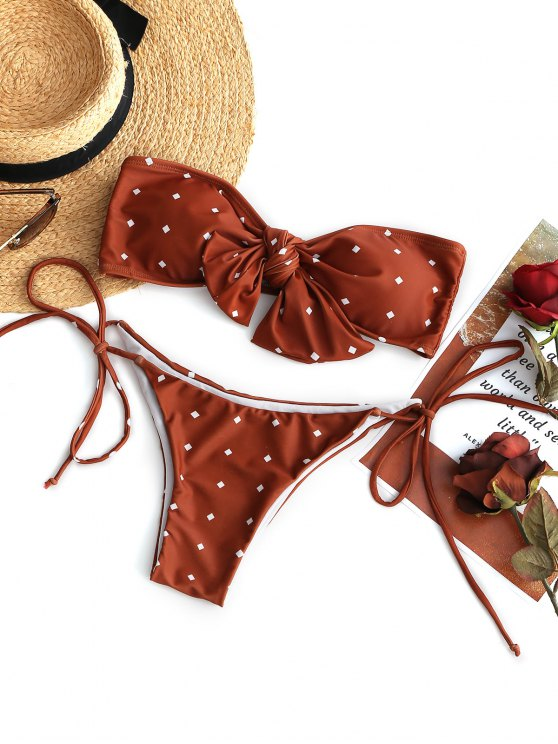 lady Self-tie Knot Bandeau Bikini Set - BRICK-RED S