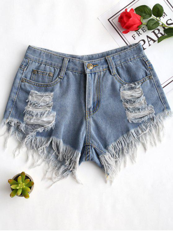 Ausgefranste Saum Gerippte Denim Shorts - Denim Blau XL
