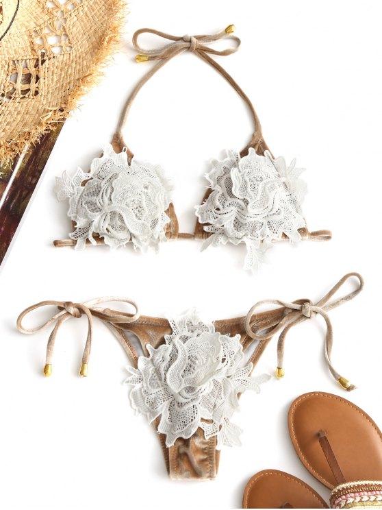 Ensemble Bikini String en Guipure de Velours - Champagne L
