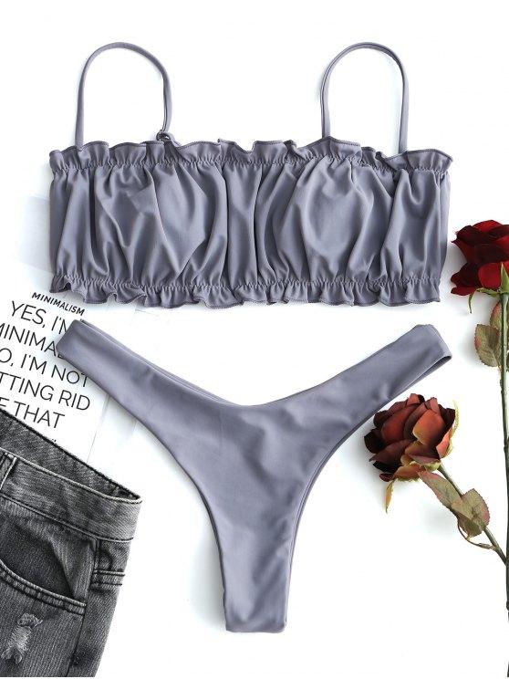 Rüschen Thong Bikini-Set - Grau S