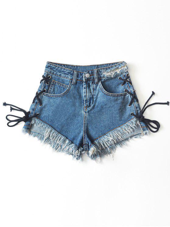 unique Frilled Hem Lace Up Cutoffs Denim Shorts - DENIM BLUE XL