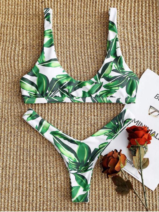 d46d81769 15% OFF] 2019 Leaf High Cut Bikini Set In WHITE AND GREEN   ZAFUL