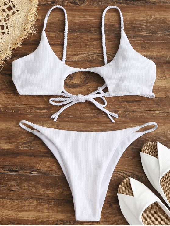 trendy ZAFUL Ribbed Braided Cut Out Bikini Set - WHITE L