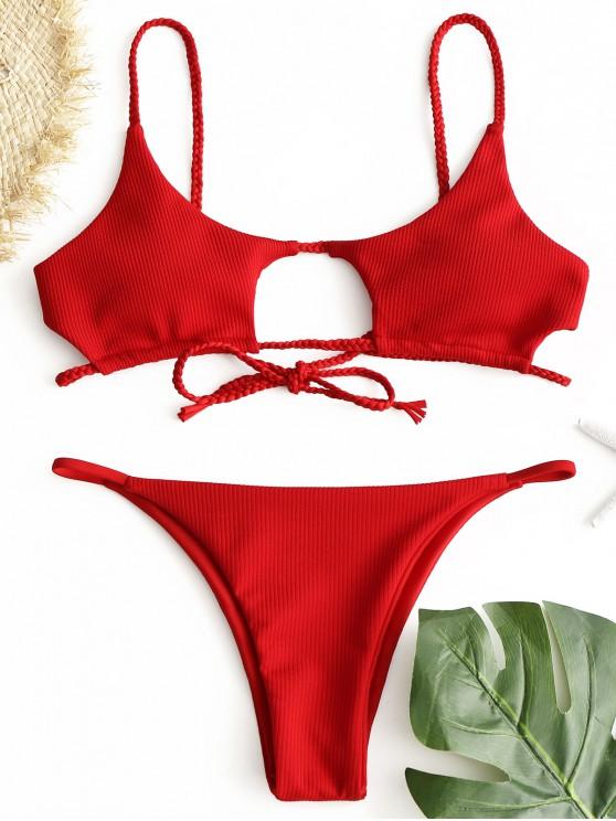 outfits ZAFUL Ribbed Braided Cut Out Bikini Set - RED L