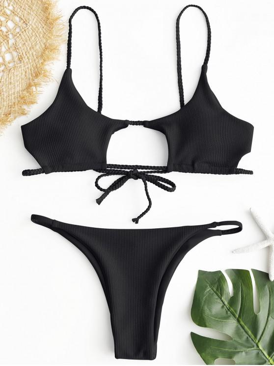 chic ZAFUL Ribbed Braided Cut Out Bikini Set - BLACK S