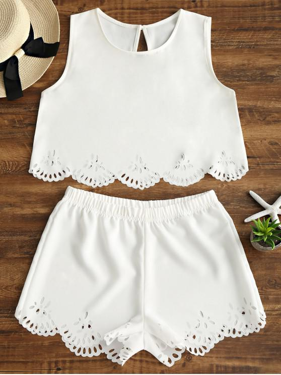 hot Sleeveless Laser Cut Top and Shorts Set - WHITE S