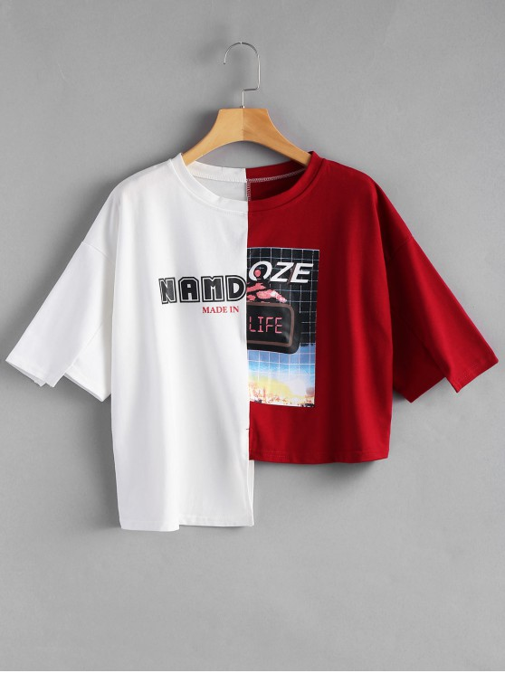 outfit Letter Graphic Contrast Asymmetric Tee - RED WITH WHITE ONE SIZE