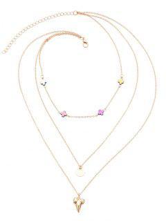 Metal Layered Cross Design Pendant Necklace - Golden