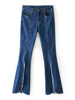 Frayed Hem Front Slit Boot Cut Jeans - Denim Blue 36