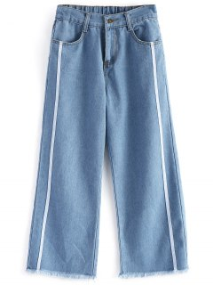 Frayed Hem Zipper Fly Jeans - Denim Blue L
