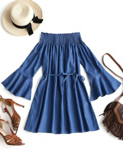 Off Shoulder Smocked Flare Sleeve Belted Dress - Blue L